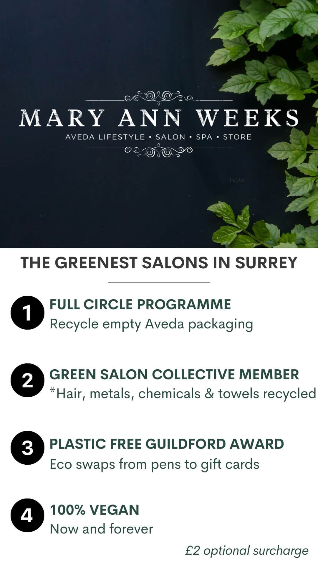 MARY ANN WEEKS IS THE GREENEST SALON IN SURREY